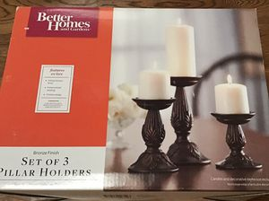 Bronze Finish Pillar Holders, Set of Three, NIB for Sale in Chesapeake, VA