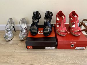 4 Pairs Guess Heels wedges platform sandals brown, coral, black, silver sz 7.5, 8 for Sale in Lawndale, CA