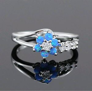 925 Sterling Silver Blue Opal Stone Flower Ring ~~Check my other items~~ for Sale in Lake Worth, FL