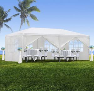 10'x20' Canopy Party BBQ Outdoor Canopy Party Waterproof Wedding Tent White Gazebo Pavilion W/6 Side Walls for Sale in Brentwood, CA