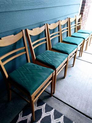 Set of 6-Mid-Mod Wooden Padded Chairs for Sale in Arvada, CO