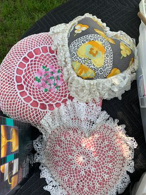 3 throw pillows decorated with lace & crochet trim , 3 are heart shaped , 1 round , and 1 square . for Sale in Columbia, MO