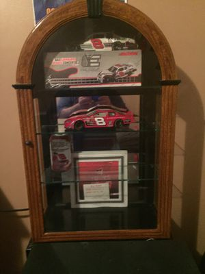 4tear glass cabinet with or without dale jr collection also AJ Foyt signed card for Sale in Clayton, NC