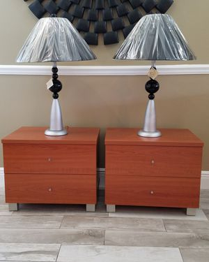 """Brand new modern 2-door cherry wood nightstands/ end tables with two brand new lamps and shades H=18.75"""" w=22.75"""" d=16"""" for Sale in Boca Raton, FL"""