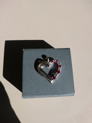 Ruby and white topaz heart pendant for Sale in Portland, OR