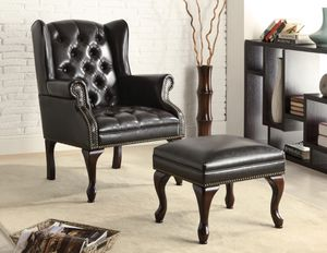 Button Tufted Back ~Accent Chair! With Ottoman Black And Espresso! for Sale in West Sacramento, CA