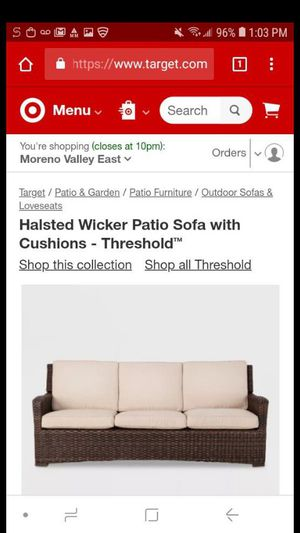 Item has no cushions selling cheap no cushions retail 850 with cushions 1 piece outdoor patio furniture couch patio set for Sale in Moreno Valley, CA