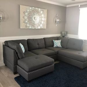 Brand New Grey Linen Sectional Sofa Couch + Ottoman (Black Available) for Sale in Silver Spring, MD