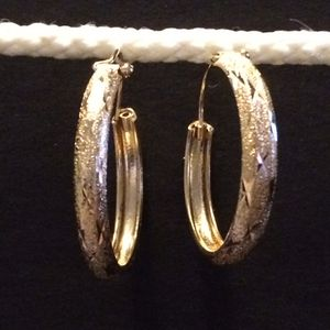 14 Kt gold Over sterling silver one and a half inch hoops for Sale in West Valley City, UT