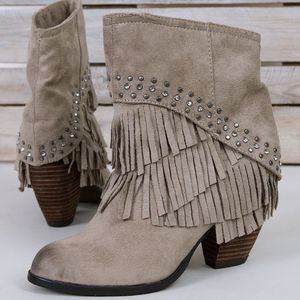 Buckle | Not Rated 'Anya' Tan Fringe Ankle Booties- SZ 8 for Sale in Las Vegas, NV