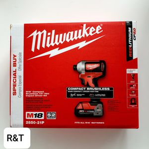 Milwaukee M18 18-Volt Lithium-Ion Compact Brushless Cordless 1/4 in. Impact Driver Kit W/ (1) 2.0 Ah Battery, Charger & Tool Bag for Sale in Fullerton, CA