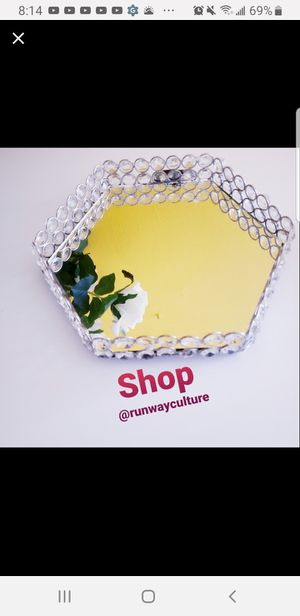 Hexagon Crystal Mirrored Tray for Sale in University Park, IL
