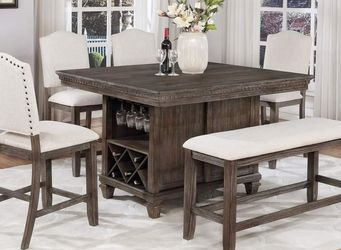 RUSTIC BROWN GRAY FINISH 6 PIECE COUNTER HEIGHT DINING TABLE SET STOOLS BENCH WINE STORAGE RACK / COMEDOR MESA SILLAS BANCO for Sale in Moreno Valley,  CA