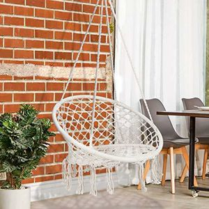 ZENY™ Hanging Hammock Chair Macrame Swing Chair Hanging Cotton Rope Swing for Indoor Outdoor Patio Garden Porch Large Swing Chairs for Sale in Diamond Bar, CA