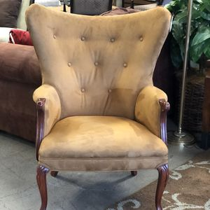 Tan Suede Wingback Chair With Wood Frame for Sale in Tacoma, WA