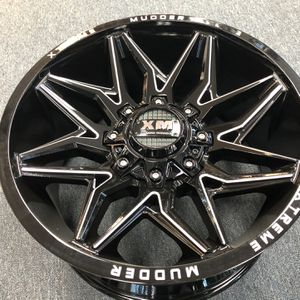 New Wheels Xtreme Mudder XM-346 6X135/6X139.7 -6 108 Gloss Black Milled For A Set for Sale in Corona, CA
