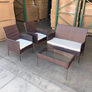 "New $190 Small 4pcs Wicker Ratten Patio Outdoor Furniture Set (Seat 37x19"" and 19x19"") Assembly Required for Sale in La Mirada, CA"