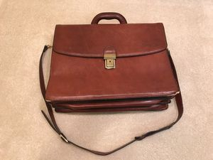 Cuoieria Fiorentina - Genuine Leather Brown Tan Briefcase Messenger Laptop Bag for Sale in Burke, VA