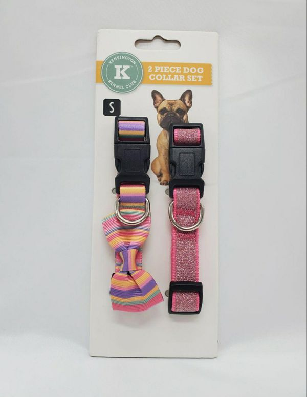Dog Collar Set 2 Pieces ,Kensington Kennel Club, Adjustable Size S Pink Color