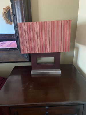 2 lamps faux dark wood is high is ceramic and red / burgundy striped lamp shades for Sale in Phoenix, AZ
