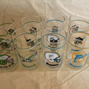 These NFL Mobile Glasses Are Produced In The Early 80s He Can Have All 19 Glasses $40 for Sale in Sun City, AZ