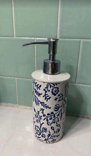 Ceramic glazed pattern soap/lotion dispenser Blue-Threshold for Sale in Silver Spring, MD
