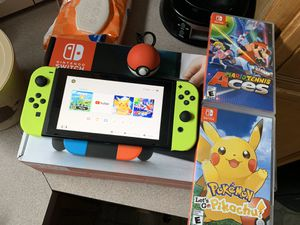 Nintendo switch with games and pokeball for Sale in East Providence, RI
