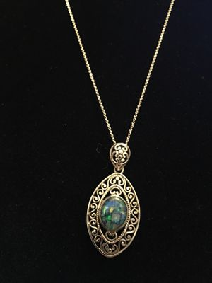 Mosaic opal & sterling silver necklace for Sale in West Richland, WA