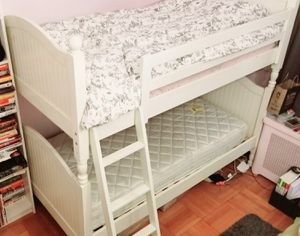 Solid Pottery Barn Catalina Twin Over Twin Bunk Bed with Trundle. 2 Mattressess with Newer cover for $50 for Sale in San Diego, CA