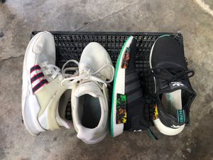 2 pairs of Adida shoes-White Size 10 Black Size 9 for Sale in Bell, CA