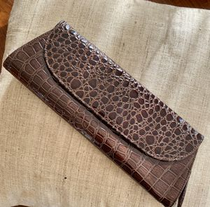 Chocolate Brown Faux Croc Clutch for Sale in Washington, DC