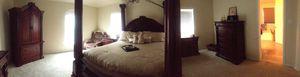 King Bedroom Set...includes bed frame, dresser, mirror dresser, 2 bedside tables, and Armoire for $2000.00 for Sale in Harker Heights, TX
