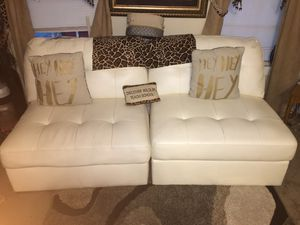 3 piece cream real leather (sectional) living room set for Sale in Newport News, VA
