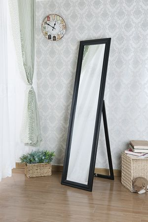 Wooden Standing Mirror with Decorative Design, Black, SKU 7059 for Sale in Santa Ana, CA