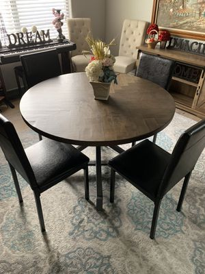 Stunning farmhouse rustic modern kitchen wooden dining table with 4 black leather chairs for Sale in Peoria, AZ