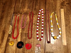 Large lot of vintage plastic necklaces and pins: material type unknown — red yellow white for Sale in Puyallup, WA