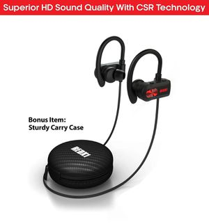 REDX1 Bluetooth Headphones, Best Wireless Sports Earphones w/Mic IPX6 Waterproof HD Stereo Sweatproof Earbuds for Gym Running Workout 11 Hour Battery for Sale in Linwood, NJ