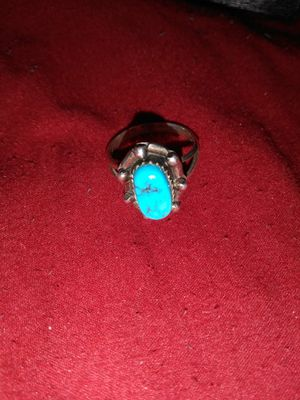 Size 8 silver turquoise stone ring for Sale in Port Arthur, TX