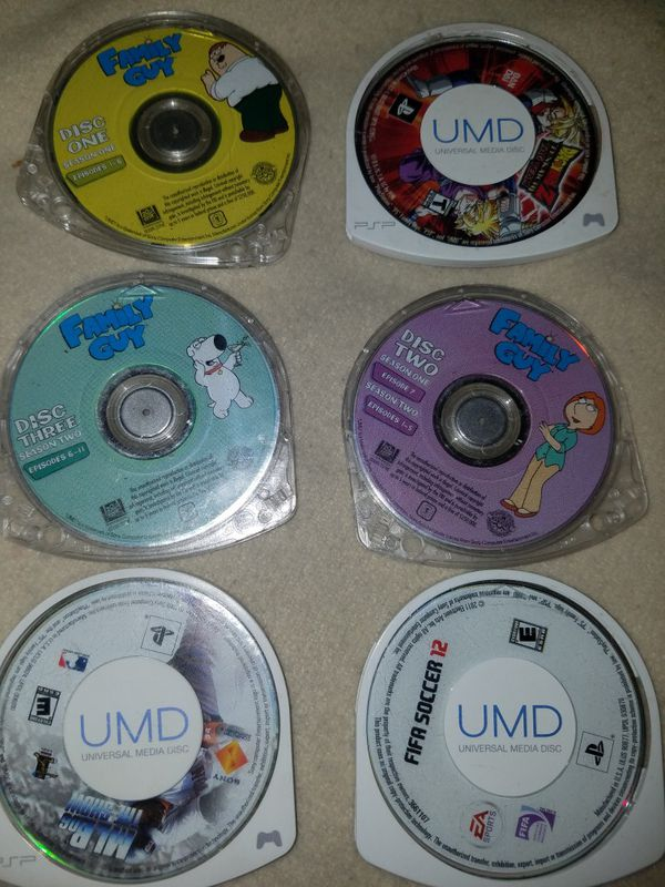 PSP GAMES MIB,FAMILY GUY,FIFR SOCEER, DRAGON BALLZ