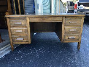 Vintage Solid Oak Large Desk Build In 1953. for Sale in Punta Gorda, FL