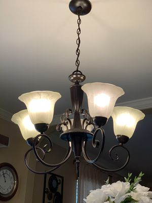 Portfolio 23.37-in 5-Light Oil-Rubbed Bronze Country Cottage Alabaster Glass Shaded Chandelier for Sale in San Antonio, TX