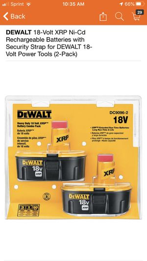 DEWALT 18-Volt XRP Ni-Cd Rechargeable Batteries with Security Strap for DEWALT 18-Volt Power Tools (2-Pack) for Sale in Pomona, CA