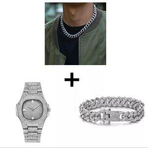 Cuban necklace, bracelet, watch combo for Sale in Midlothian, TX