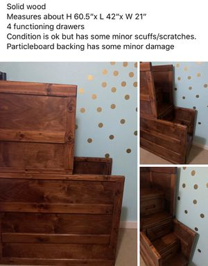 Staircase ladder storage chest for loft or bunk bed tiny home for Sale in Tacoma, WA