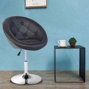 Modern Swivel Antoinette Vanity Chair - Round Tufted Back Pu Leather-Black for Sale in South El Monte, CA