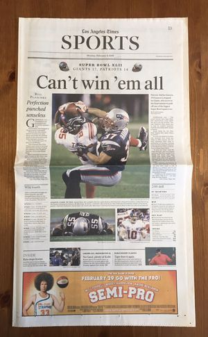 (1 SET) LOS ANGELES TIMES: NEW YORK GIANTS & PITTSBURGH STEELERS WIN THE SUPER BOWL EACH + BONUS for Sale in Compton, CA