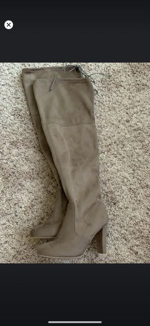 Over the knee heeled boots is a taupe color knee boots fall fashion for Sale in Puyallup, WA