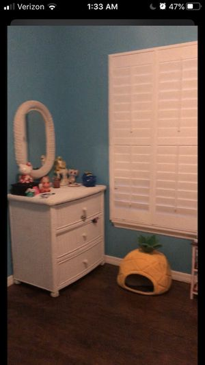 Wicker dresser with mirror for Sale in GRANT VLKRIA, FL