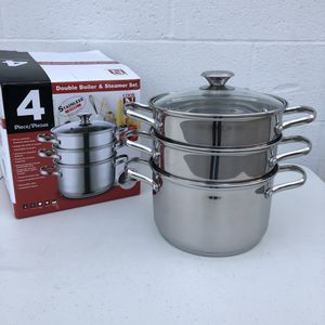 Cook N Home Stainless Steel Steamer Set 4pcs With Lid Kitchen Appliances Supplies Deluxe Cookware for Sale in El Monte, CA
