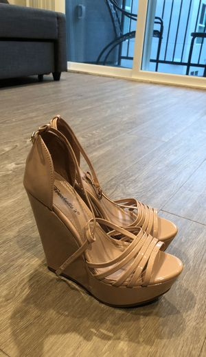 Glossy Nude wedge heels size 8.5 for Sale in Los Angeles, CA